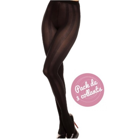 "River 70, Pack de 3 collants opaque fantaisie ""Ligne"", Noir"